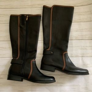Ann Klein black and brown leather riding boots  8